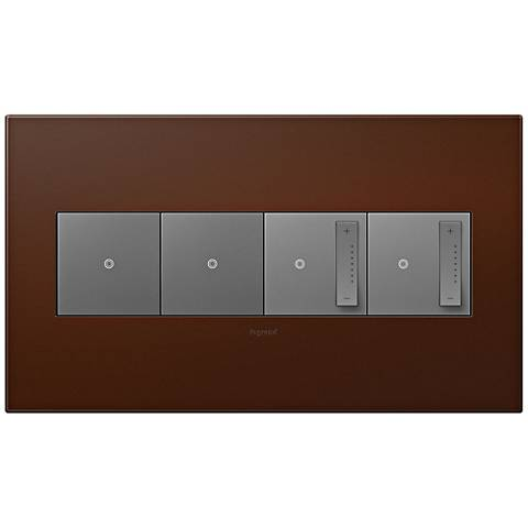 adorne Russet 4-Gang Wall Plate w/ 2 Switches and 2 Dimmers
