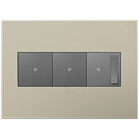 adorne Titanium 3-Gang Wall Plate w/ 2 Switches and Dimmer
