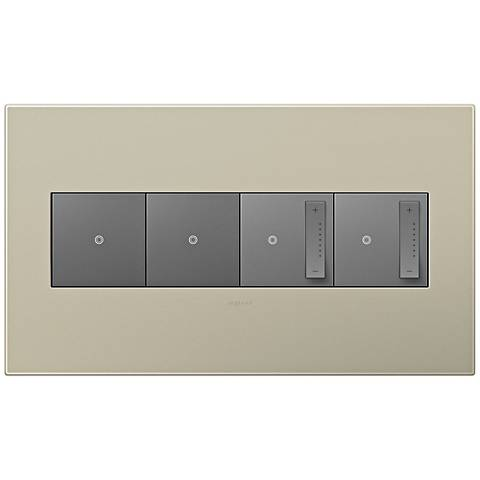 adorne Titanium 4-Gang Wall Plate w/ 2 Switches and 2 Dimmers
