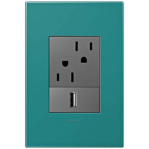 adorne Turquoise Blue 1-Gang+ Wall Plate w/ Outlets