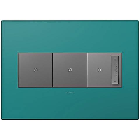 adorne Turquoise Blue 3-Gang Wall Plate w/ 2 Switches and Dimmer