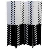 Reisner Black and White Paper Straw Weave 4-Panel Screen
