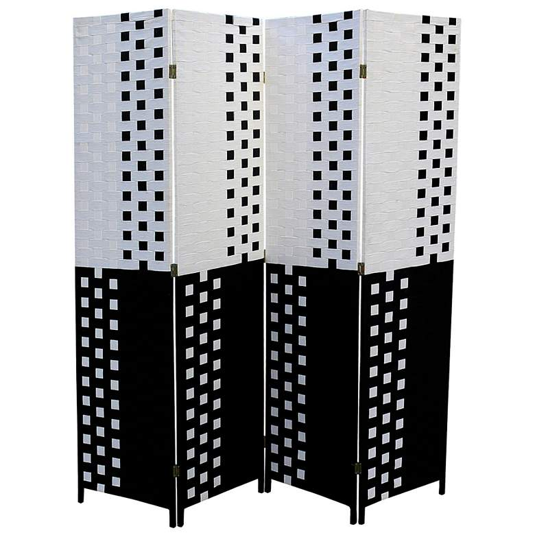"Reisner 70 1/2"" Wide Straw Weave 4-Panel Room Divider Screen"