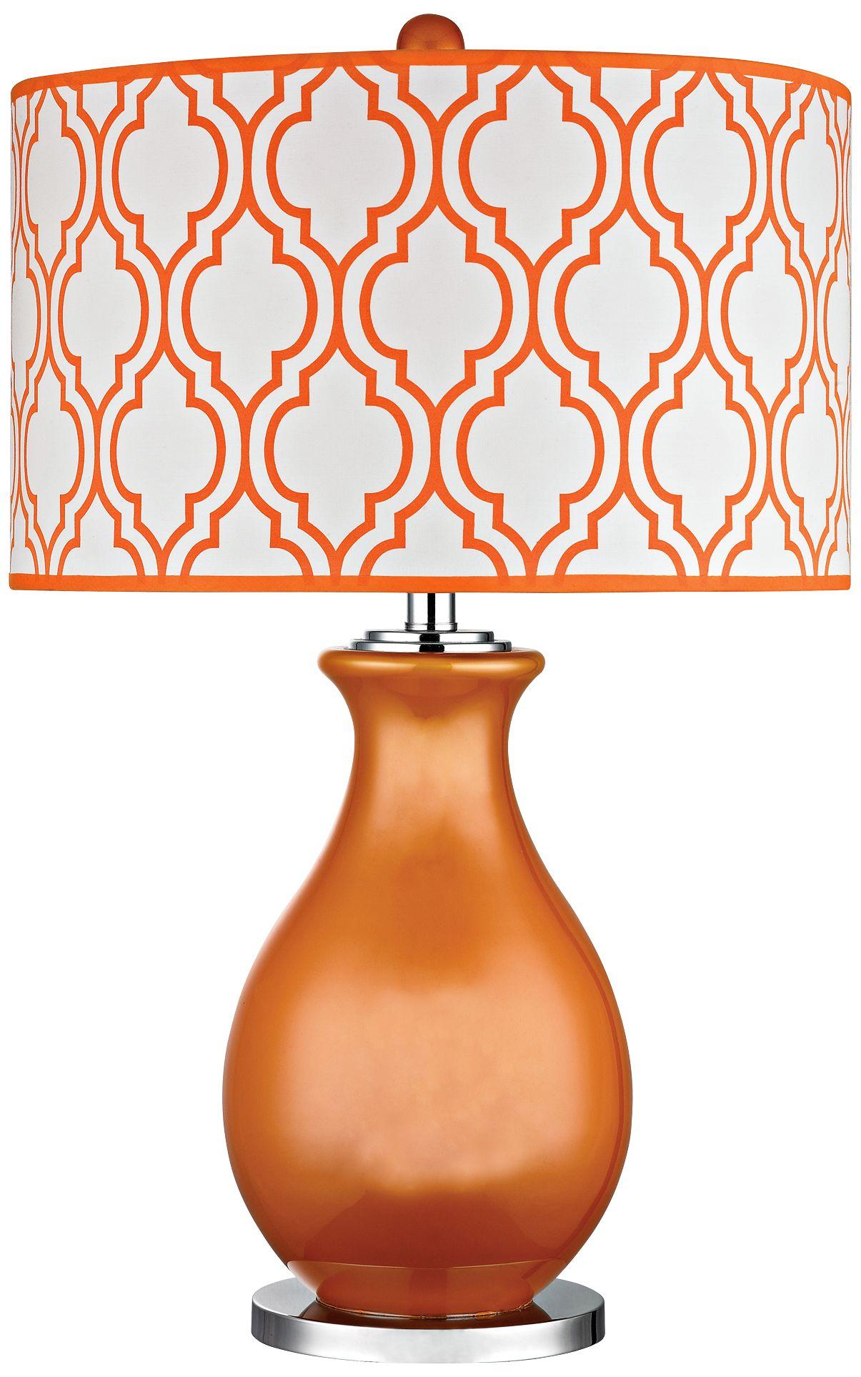 Delightful Dimond Thatcham Tangerine Orange Glass Table Lamp