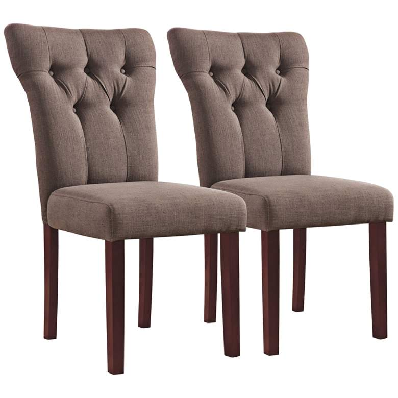 Effie Light Brown Linen Tufted Side Chair Set of 2