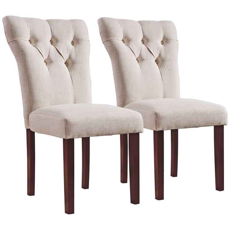 Effie Beige Linen Tufted Side Chair Set of 2