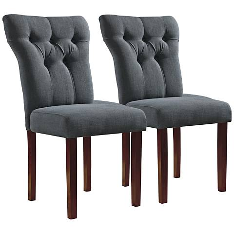 Effie Gray Linen Tufted Side Chair Set of 2