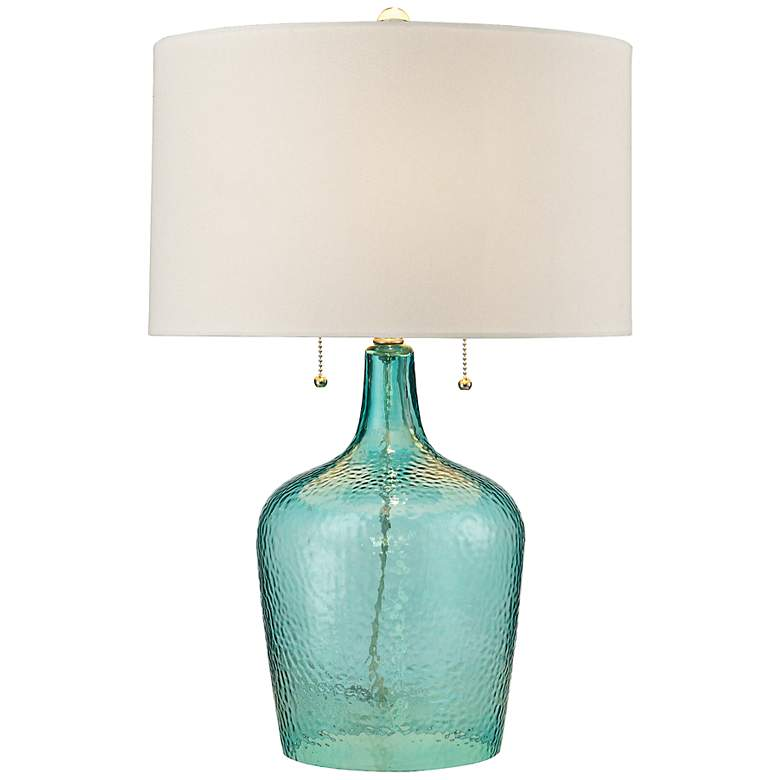 Hatteras Seabreeze Blue Hammered Glass Table Lamp