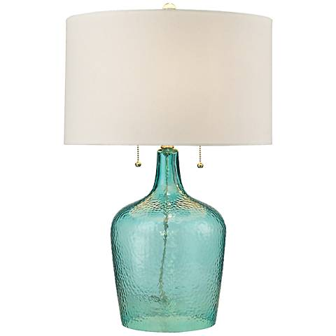 Dimond hatteras seabreeze blue hammered glass table lamp