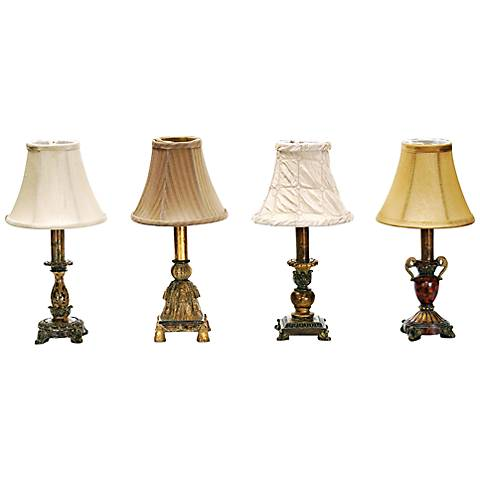 "Set of 4 Library Style 12"" High Mini-Desk Lamps by Dimond"