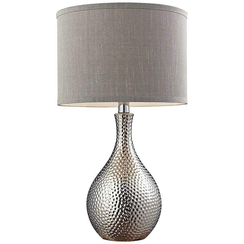 Hammered Chrome Ceramic Table Lamp