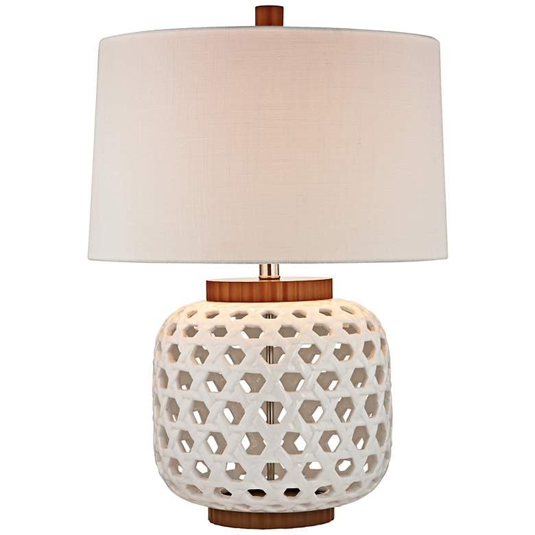 White Woven Ceramic Table Lamp