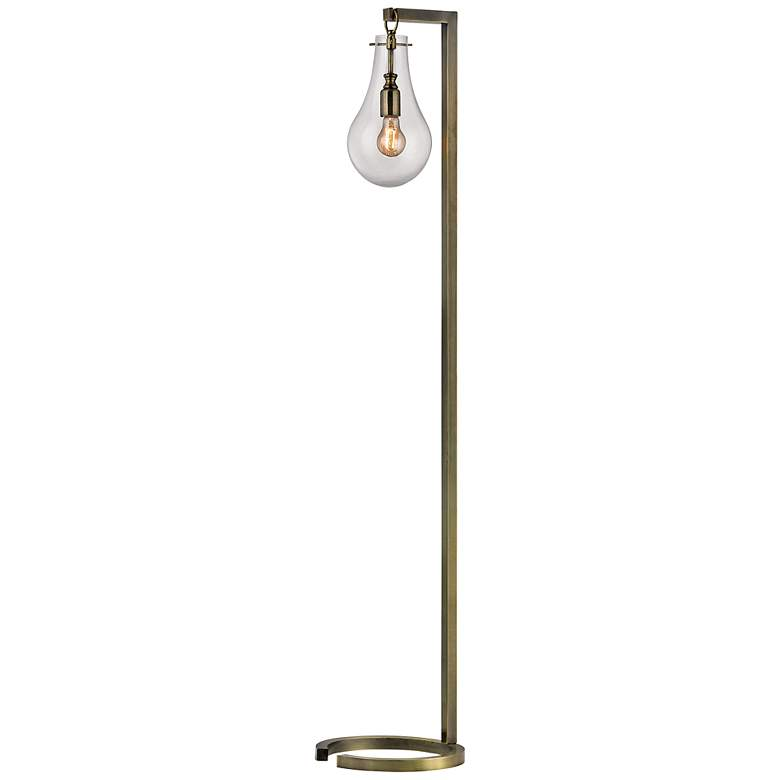 Antique Brass Metal Industrial Floor Lamp with Glass Shade