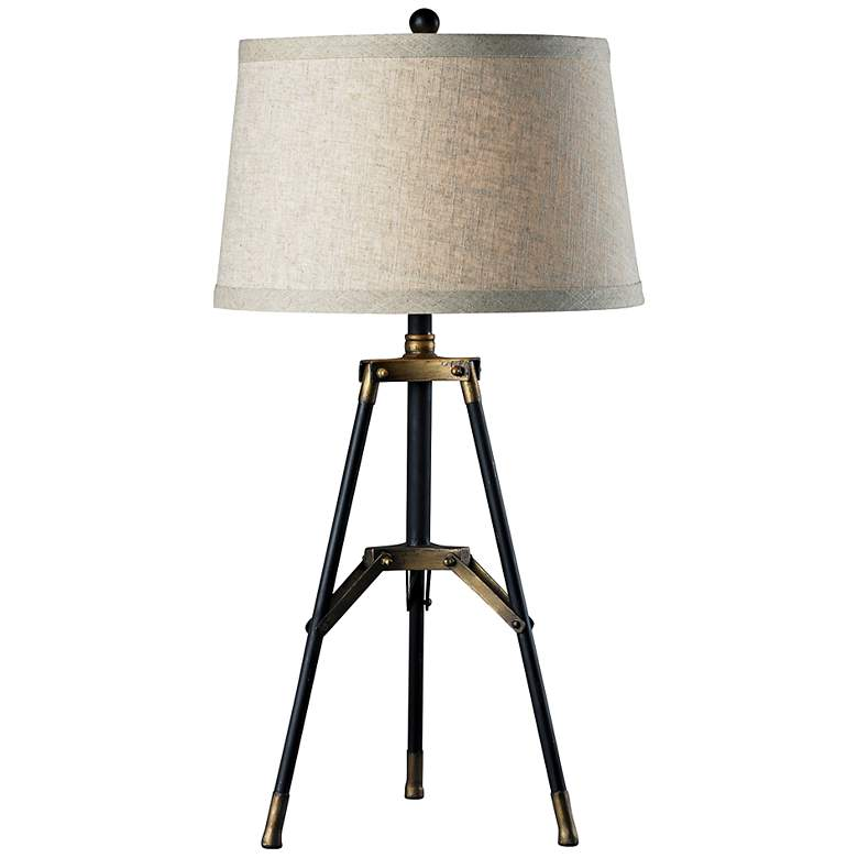 Black and Gold Functional Tripod Table Lamp