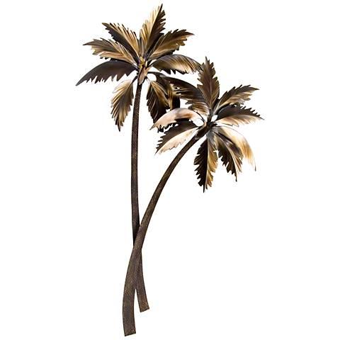 """Double Palasari Palms 46"""" High Metal Wall Art"""