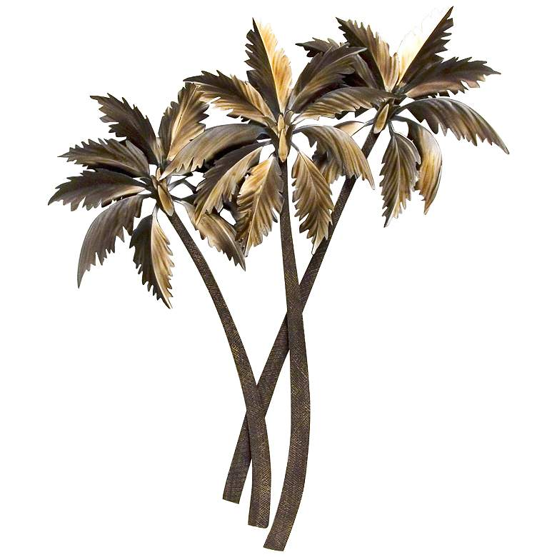 "Triple Palasari Palms 44"" High Metal Wall Art"