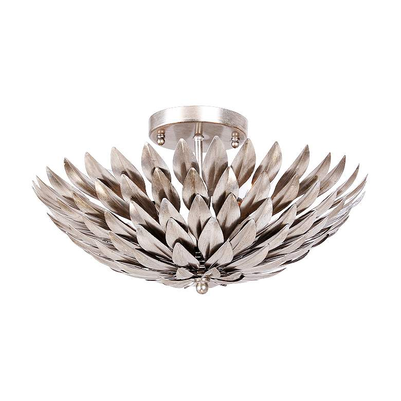 """Crystorama Broche 16"""" Wide Antique Silver Ceiling Light"""