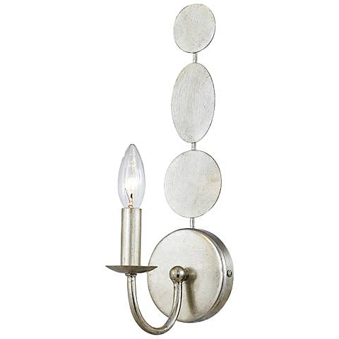 """Crystorama Layla 15 1/2"""" High Antique Silver Wall Sconce"""