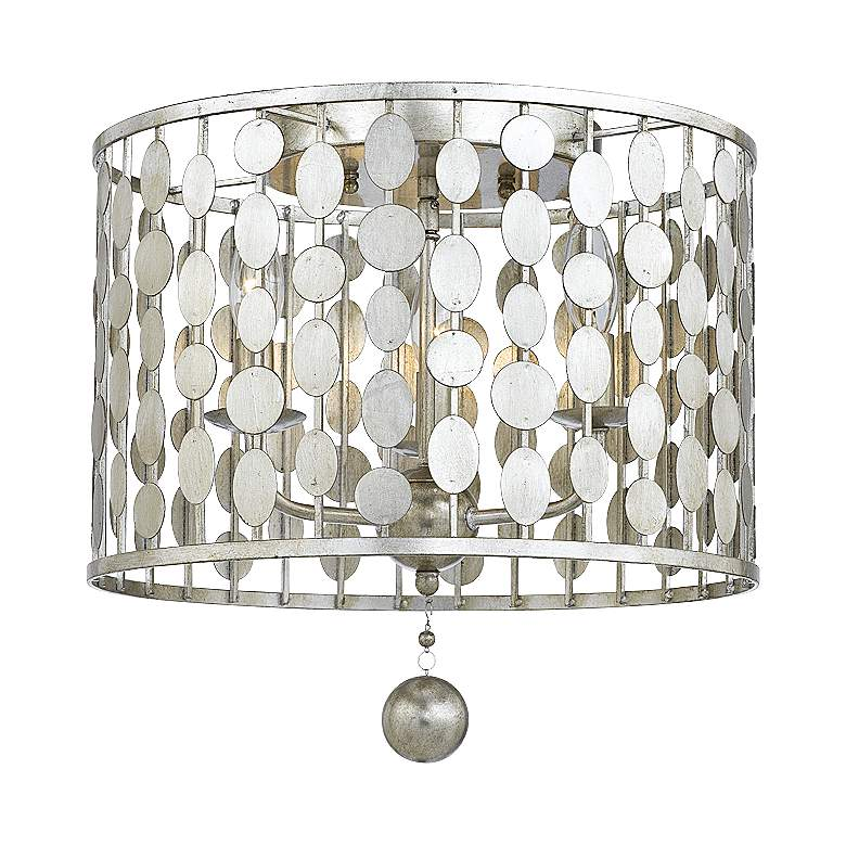 """Crystorama Layla 15"""" Wide Antique Silver Ceiling Light"""