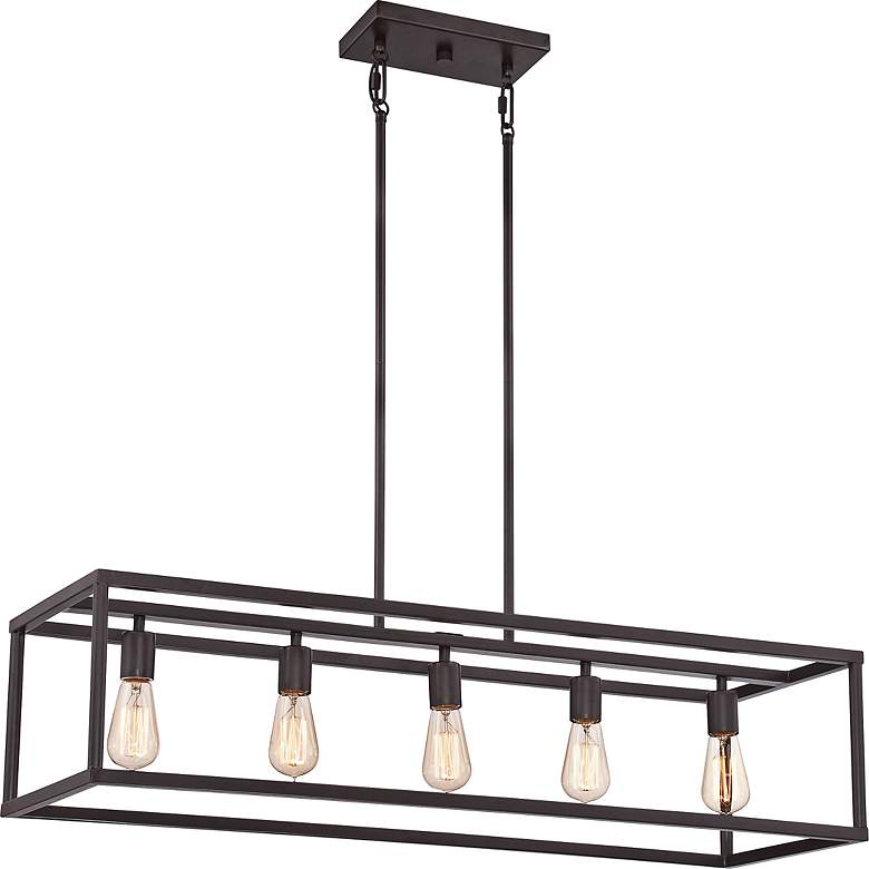 "New Harbor 38"" Wide Bronze Kitchen Island Light Chandelier"