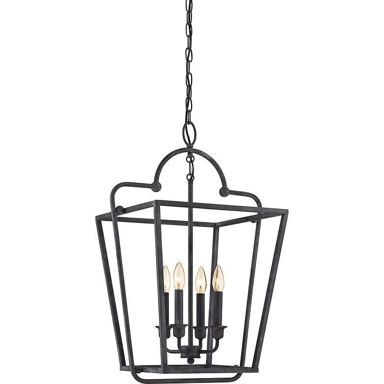 """Quoizel 18"""" Wide Mottled Black Foyer Lantern Pendant"""