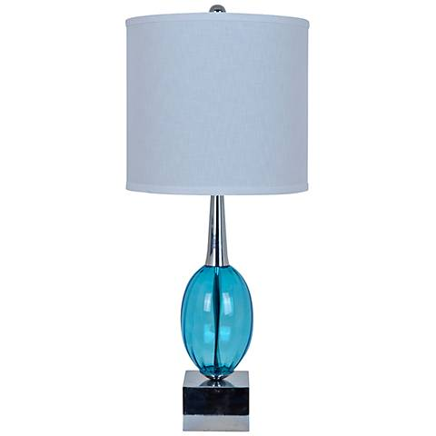 Crestview Collection Oracle Blue Glass and Chrome Table Lamp