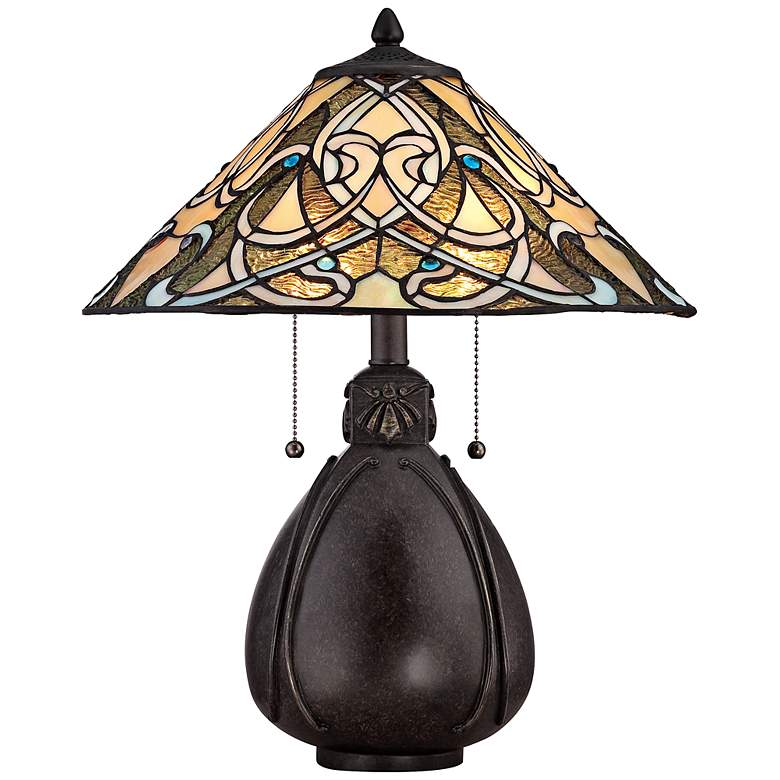 """Quoizel India Imperial Bronze 19 1/2""""H Tiffany Table Lamp"""