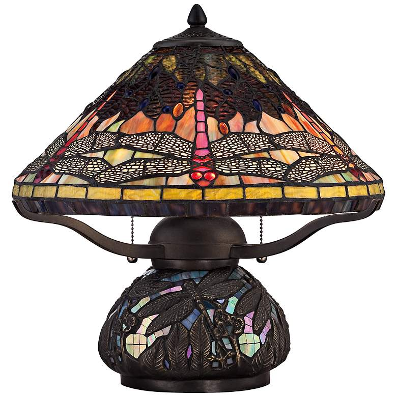 """Quoizel Tiffany-Style 16 1/2"""" High Dragonfly Table Lamp"""
