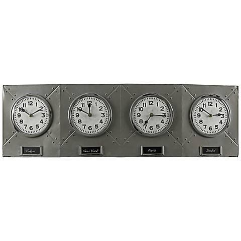 """Cooper Classics Terminal Gray 32 1/4"""" Wide Wall Clock"""