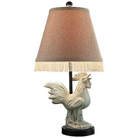 Crestview Collection Rooster Antique White Table Lamp
