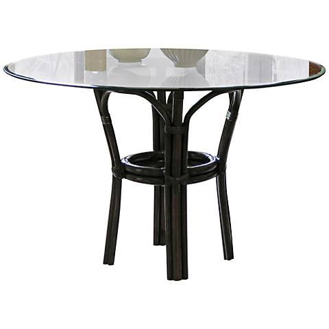 Panama Jack Sanibel Banana Leaf Glass-Top Dining Table