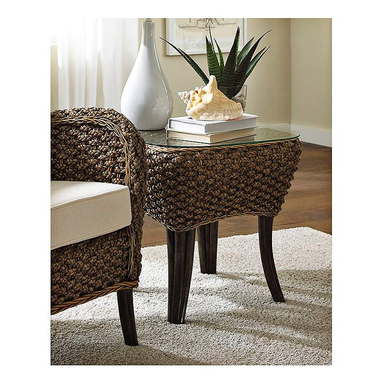 """Sanibel 22"""" Wide Glass and Rattan Tropical End Table"""