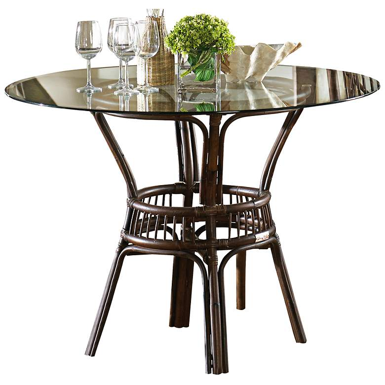 Groovy Panama Jack Bora Bora 42 Wide Glass Top Rattan Dining Table Short Links Chair Design For Home Short Linksinfo