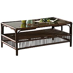 "Bora Bora 43"" Wide Glass-Top Tropical Rattan Coffee Table"