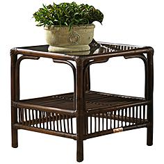 "Bora Bora 20"" Square Glass-Top Tropical Rattan End Table"