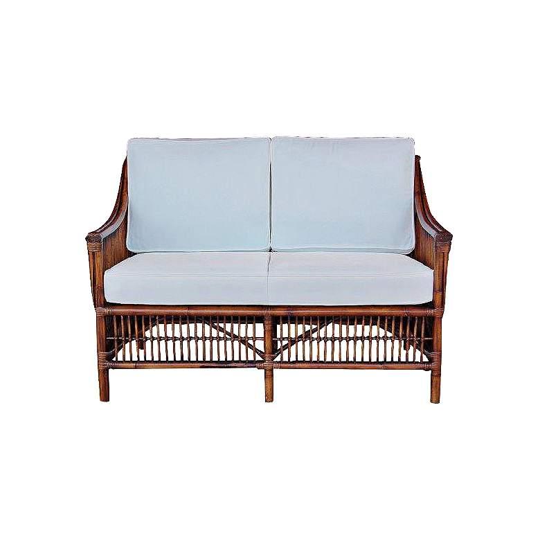 Excellent Bora Bora 51 Wide Cushioned Tropical Rattan Loveseat Short Links Chair Design For Home Short Linksinfo