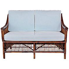 "Bora Bora 51"" Wide Cushioned Tropical Rattan Loveseat"