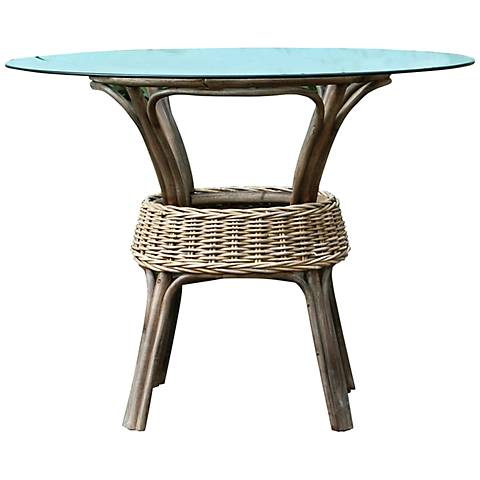 Panama Jack Exuma Kubu Glass-Top Gray Wicker Dining Table