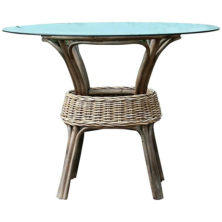 "Exuma Kubu 42"" Wide Glass-Top Gray Wicker Dining Table"