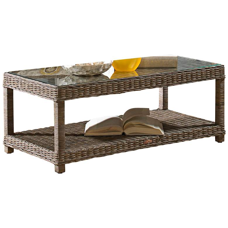 "Exuma Kubu 47"" Wide Glass-Top Gray Wicker Coffee"