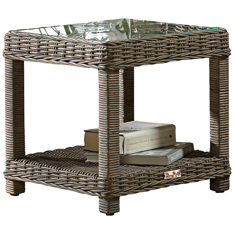 "Exuma 20"" Wide Glass-Top Kubu Gray Wicker End"