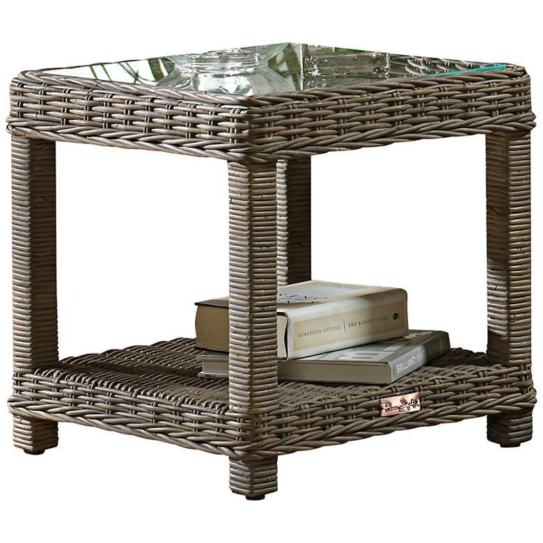 "Exuma 20"" Wide Glass-Top Kubu Gray Wicker End Table"