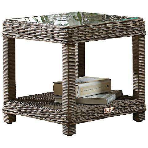 Panama Jack Exuma Kubu Glass-Top Gray Wicker End Table