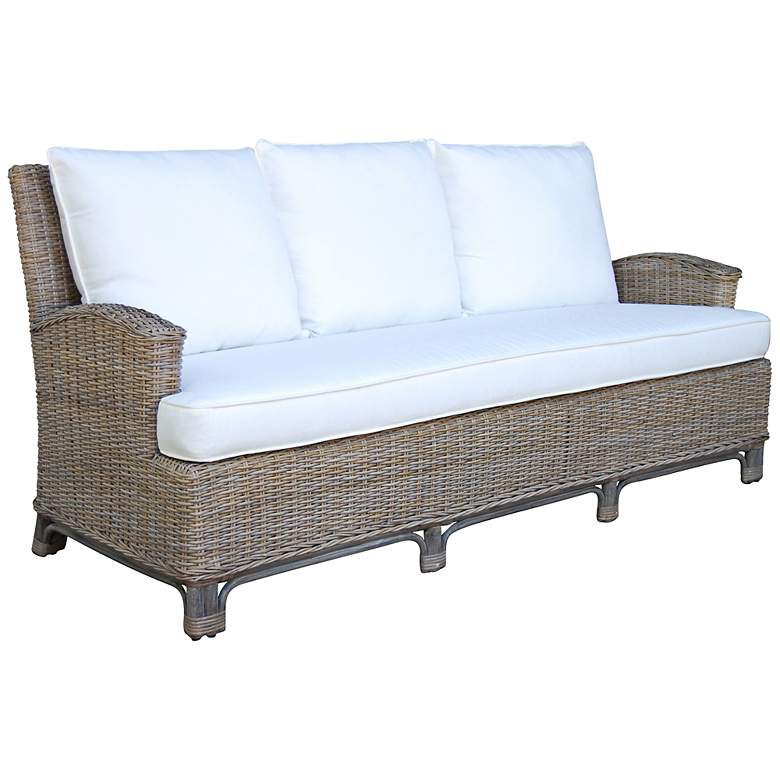 "Panama Jack 79"" Wide Exuma Cushioned Kubu Gray Wicker Sofa"