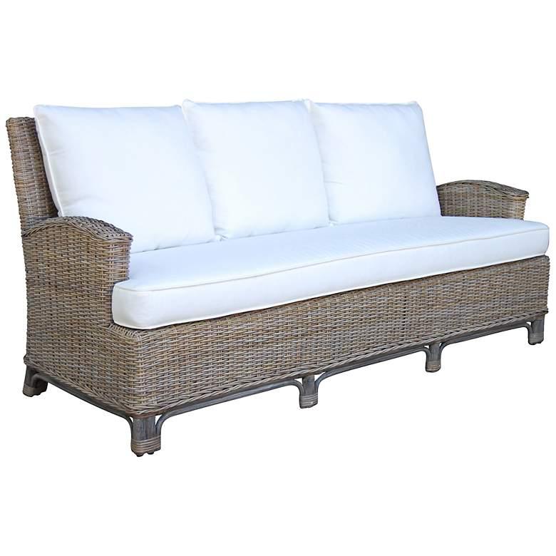 Terrific Panama Jack 79 Wide Exuma Cushioned Kubu Gray Wicker Sofa Beatyapartments Chair Design Images Beatyapartmentscom