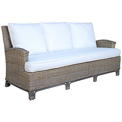 "Panama Jack 79"" Wide Exuma Cushioned Kubu Gray Wicker Sofa"