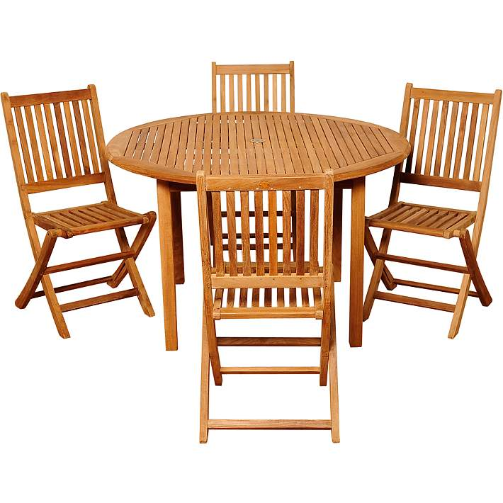 Dallis Teak Folding Chair 5 Piece Round, Outdoor Foldable Round Dining Table