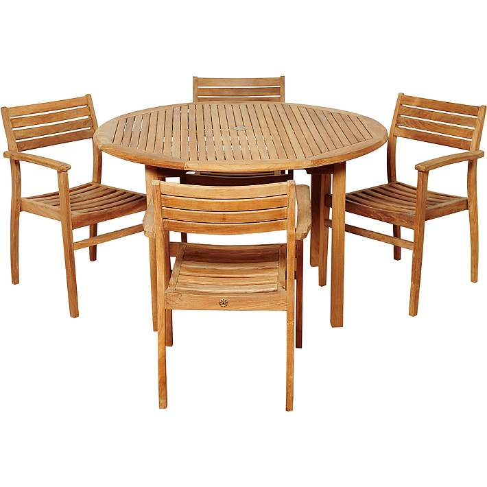 Bar Height Glass Table, Donner Teak Armchair 5 Piece Round Patio Dining Set 7v211 Lamps Plus