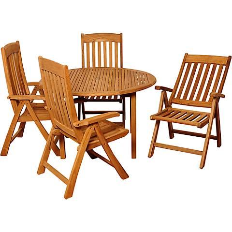 Derrin Teak Positionable Armchair 5-Piece Patio Dining Set