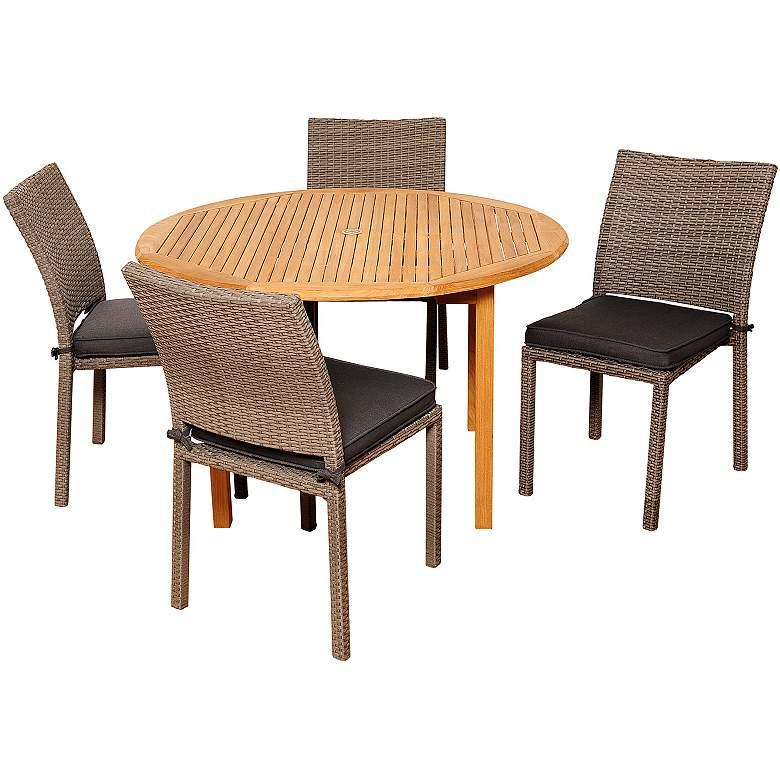 Arcola Gray Wicker 5-Piece Round Patio Dining Set